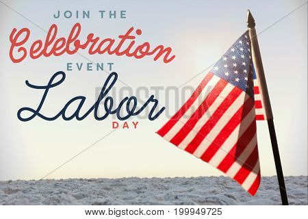 Digital composite image of join celebratio event labor day text against horizon over the sand