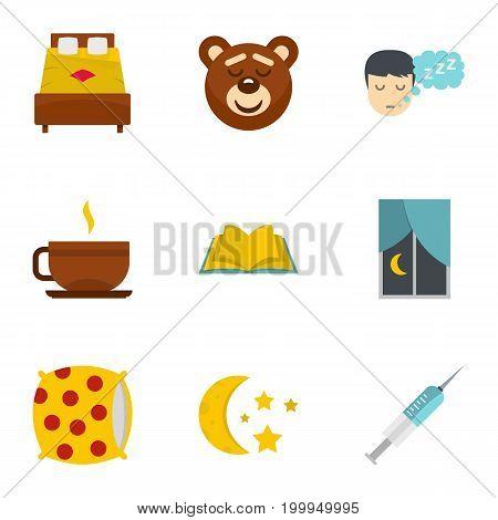 Sleeping icon set. Flat style set of 9 sleeping vector icons for web isolated on white background