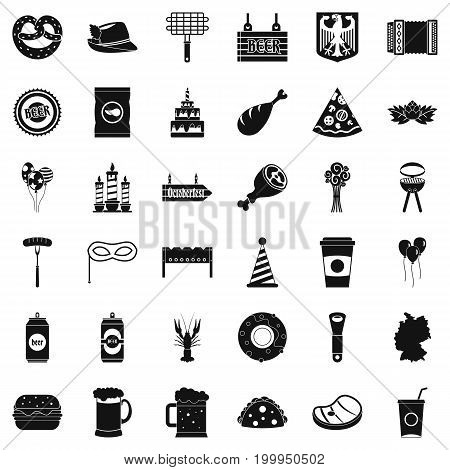 Oktoberfest party icons set. Simple style of 36 oktoberfest party vector icons for web isolated on white background