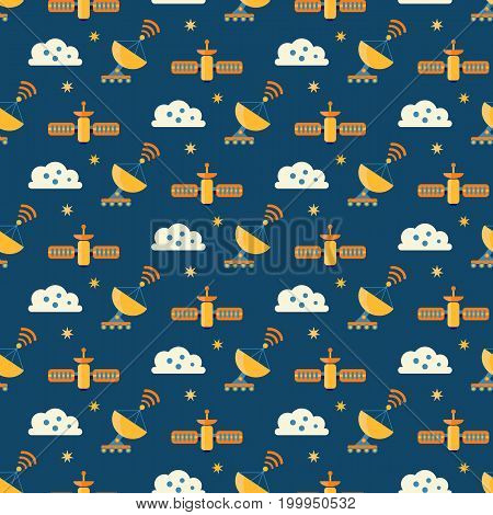 Cute seamless cosmic pattern for kids. Cosmos discovery and exploration theme. Outer space childish background. Flat style, vector illustration.