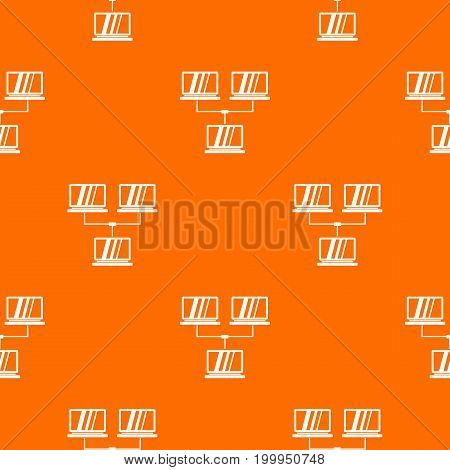 Exchange of data between computers pattern repeat seamless in orange color for any design. Vector geometric illustration
