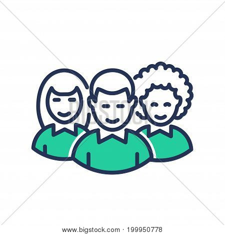 Volunteers - modern   vector single line design icon. An image depicting three people always ready to help, aid for a good cause, woman, man, green color. Use it for your presentation.