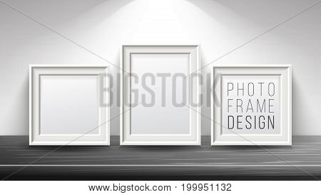 Realistic Blank Picture Frame Vector. Light Wood and Dark Wood Picture Frames Mock Up. Wooden Table On Interior Background. Front View. Realistic Design Template.