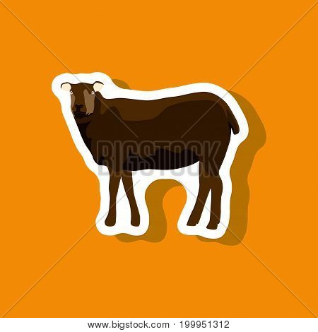 sheep paper sticker on stylish background animal