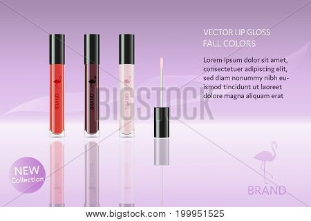 Brand. Lip gloss in different autumn colors with flamingo, logo and text.