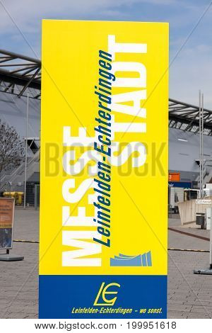 Leinfelden-Echterdingen Germany - May 06 2017: Trade fair Stuttgart advertising poster trade fair city Leinfelden-Echterdingen (Messestadt)
