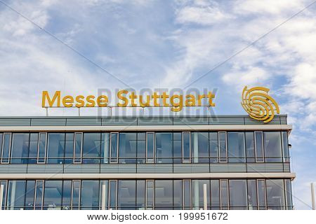 Stuttgart Germany - May 06 2017: Trade fair Stuttgart - corporate logo at building facade