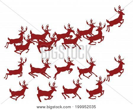 A set of silhouettes of running deer. Collection of Christmas deer. Leaping deer Santa. Vector illustration of forest animals. Stylized