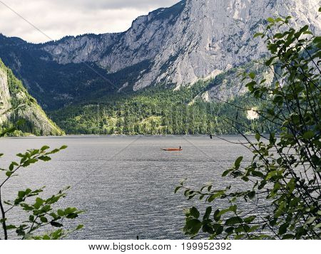 Mountain lake, Alpine massif, beautiful canyon in Austria. Alpine valley in summer, clear water. Healthy virgin mountain nature, destination for hiking, swimming vacation. Salzburg landscape, Altausee