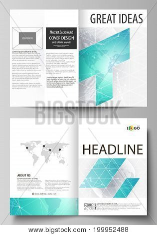 The vector illustration of the editable layout of two A4 format modern cover mockups design templates for brochure, flyer, booklet. Chemistry pattern. Molecule structure. Medical, science background