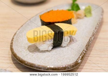Close Up sushi shrimp eggs and egg sushi tamago sushi