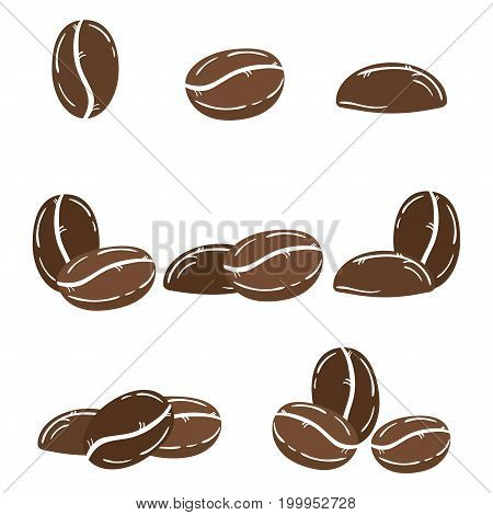 A set of coffee beans. A collection of coffee beans in different variations. Logo for the coffee house.