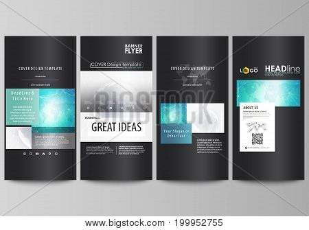 The black colored minimalistic vector illustration of the editable layout of four vertical banners, flyers design business templates. Chemistry pattern. Molecule structure. Medical, science background.