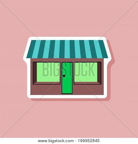 paper sticker on stylish background shop building