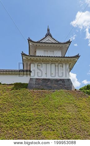 UTSUNOMIYA JAPAN - JUNE 2 2017: Reconstructed Fujimi Turret of Utsunomiya Castle Japan. Castle was founded in 1062 destroyed in Boshin War of 1868 and reconstructed in 2007