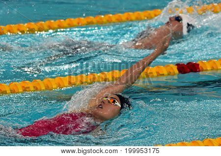 Hong Kong China - Oct 30 2016. Olympian swimmer Zsuzsanna JAKABOS (HUN) and Katinka HOSSZU (HUN) swimming in Women's Individual Medley 400m Final. FINA Swimming World Cup Finals.
