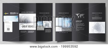 The black colored minimalistic vector illustration of the editable layout of two creative tri-fold brochure covers design templates. Technology concept. Molecule structure, connecting background