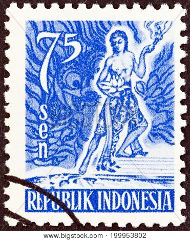 INDONESIA - CIRCA 1951: A stamp printed in Indonesia shows Spirit of Indonesia, circa 1951.