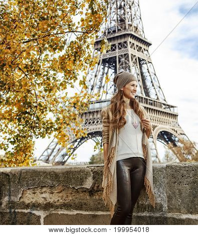 Tourist Woman On Embankment Near Eiffel Tower Having Excursion