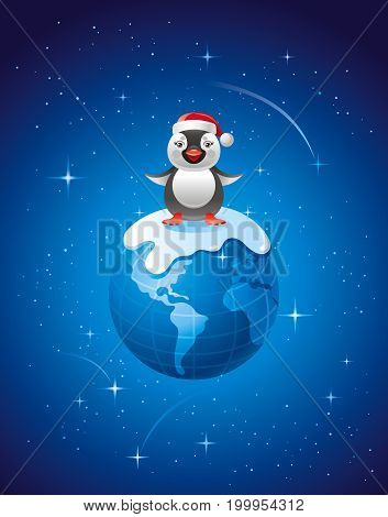 Merry Christmas, Dear Planet poster with Earth in space. Holiday vector illustration, Greeting card, xmas penguin bird in Santa Claus hat, carton character, new year poster
