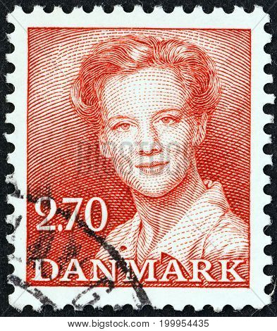 DENMARK - CIRCA 1982: A stamp printed in Denmark shows Queen Margrethe II, circa 1982.