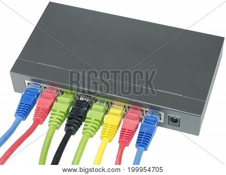 Closeup of network cables connected to router on white
