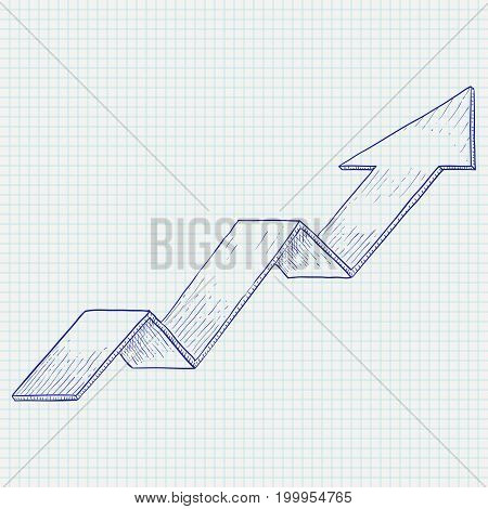 Indication arrow. Up arrow statistic financial graphic. Hand drawn sketch. Vector illustration