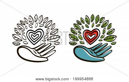 Organic, natural product logo. Ecology, environment icon or symbol. Vector illustration isolated on white background
