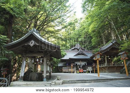 shrine or temple red pagoda in summer time. landmark at Fujiyoshida Japan
