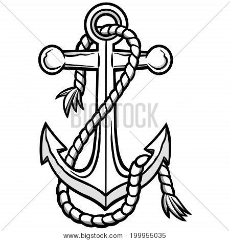 A vector illustration of a boat Anchor.