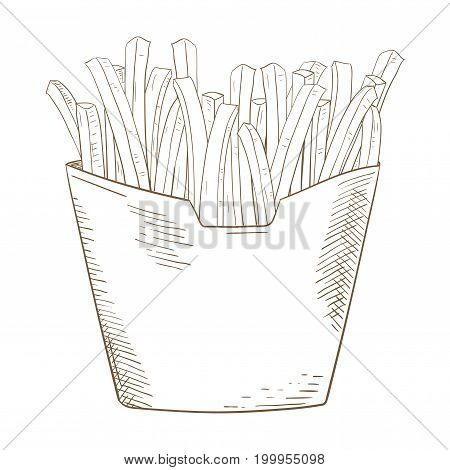 French fries sketch. Hand drawn sketch. Vector illustration isolated on white background