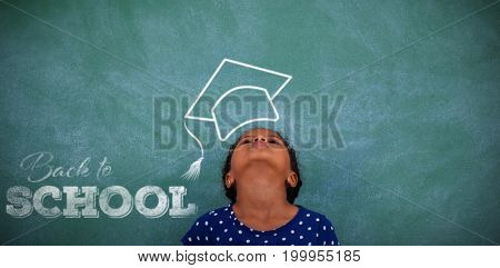 Back to school text over white background against girl standing with head back