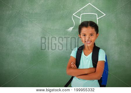 Graduation hat vector against portrait of cute school girl standing with arms crossed