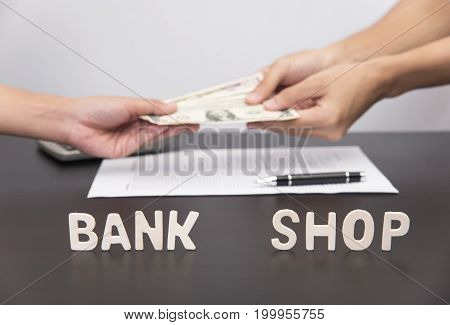 Bank and Shop. concept loan business for investment.