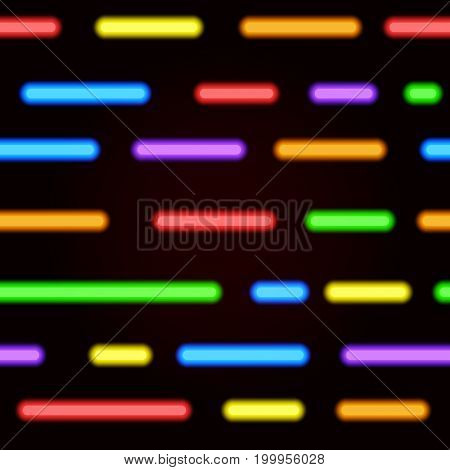 Neon seamless pattern. Vector bright neon lines on a black background