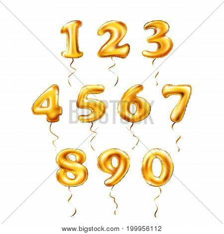 Vector Golden Number 1, 2, 3, 4, 5, 6, 7, 8, 9, 0 Metallic Balloon. Party Decoration Golden Balloons