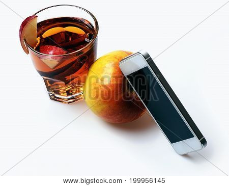 Mobile Phone, Apple Tea With Cinnamon Isolated On White