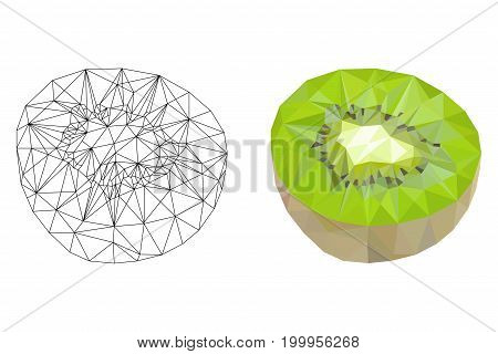 Kiwi. Polygonal illustration. Vector isolated on white background