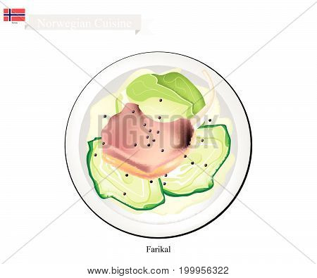 Norwegian Cuisine, Illustration of Farikal or Traditional Lamb Stew with Cabbage and Black Pepper Served with Potatoes Boiled. The National Dish of Norway