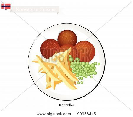 Norwegian Cuisine, Kottbullar or Traditional Meatballs Served with French Fries. One of The Most Famous Dish in Norway.
