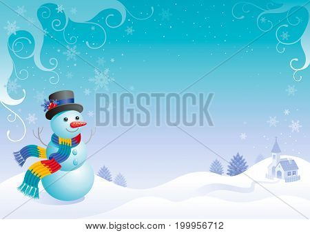 Merry Christmas and Happy New year flayer frame. Cute cartoon snowman in hat and scarf, Santa Claus reindeer sleigh silhouette. Holiday vector illustration, winter scene landscape, cold sunny weather