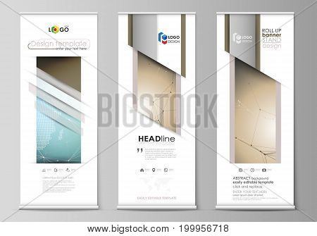The minimalistic vector illustration of the editable layout of roll up banner stands, vertical flyers, flags design business templates. Chemistry pattern with molecule structure. Medical DNA research