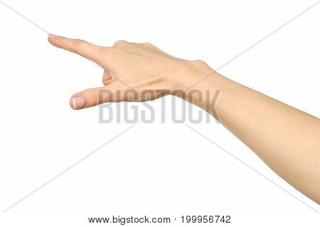 Female Caucasian Hand Gesture Of A Single Pointing Finger