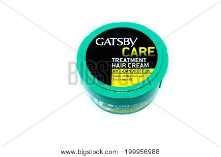 Kota Kinabalu Malaysia - August 16 2017: Gatsby Care Treatment Anti Dandruff isolated on white background. GATSBY brand was born in Japan in 1978.