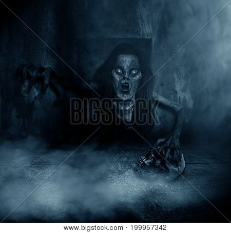 3d illustration of scary ghost woman coming out from the hole of grunge wall,Horror background,mixed media