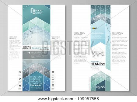 The abstract minimalistic vector illustration of the editable layout of two modern blog graphic pages mockup design templates. Chemistry pattern, connecting lines and dots. Medical concept