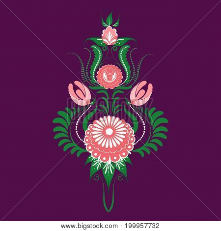 Slavic Folk Traditional Floral Ornament. Stylized Roses And Leaves