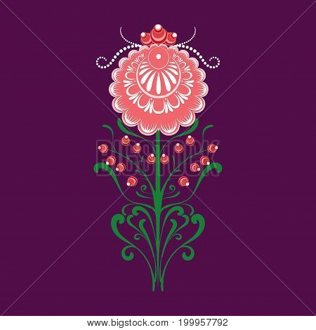 Slavic Folk Traditional Vegetable Pattern. Element Of A Decorative Border Of Rose And Berries