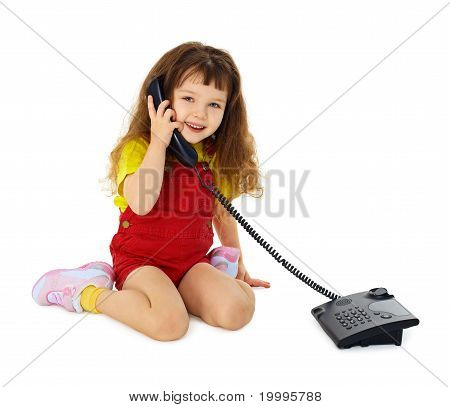Little Girl Talking On Phone