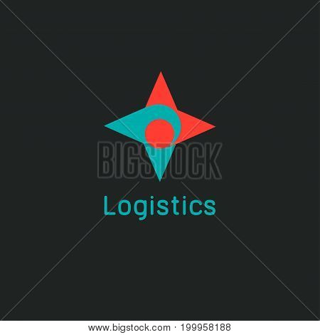Logo logistics. Modern hand compass. Icon quick delivery. Vector illustration.